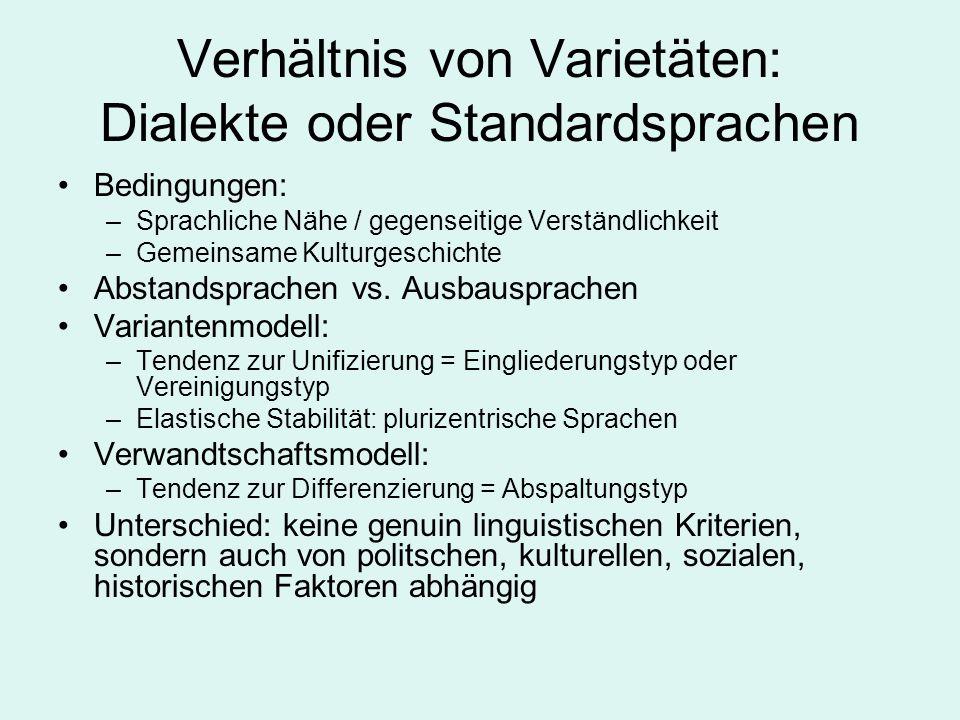 Verhältnis von Varietäten: Dialekte oder Standardsprachen Bedingungen: –Sprachliche Nähe / gegenseitige Verständlichkeit –Gemeinsame Kulturgeschichte