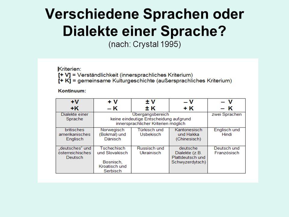Verschiedene Sprachen oder Dialekte einer Sprache? (nach: Crystal 1995)