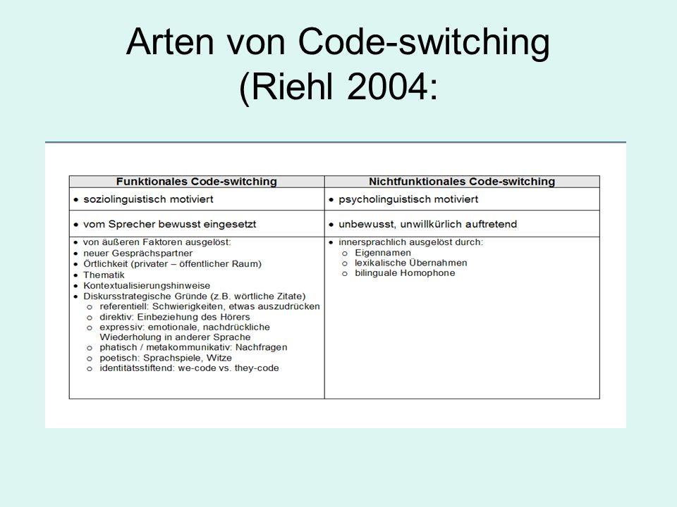 Arten von Code-switching (Riehl 2004: