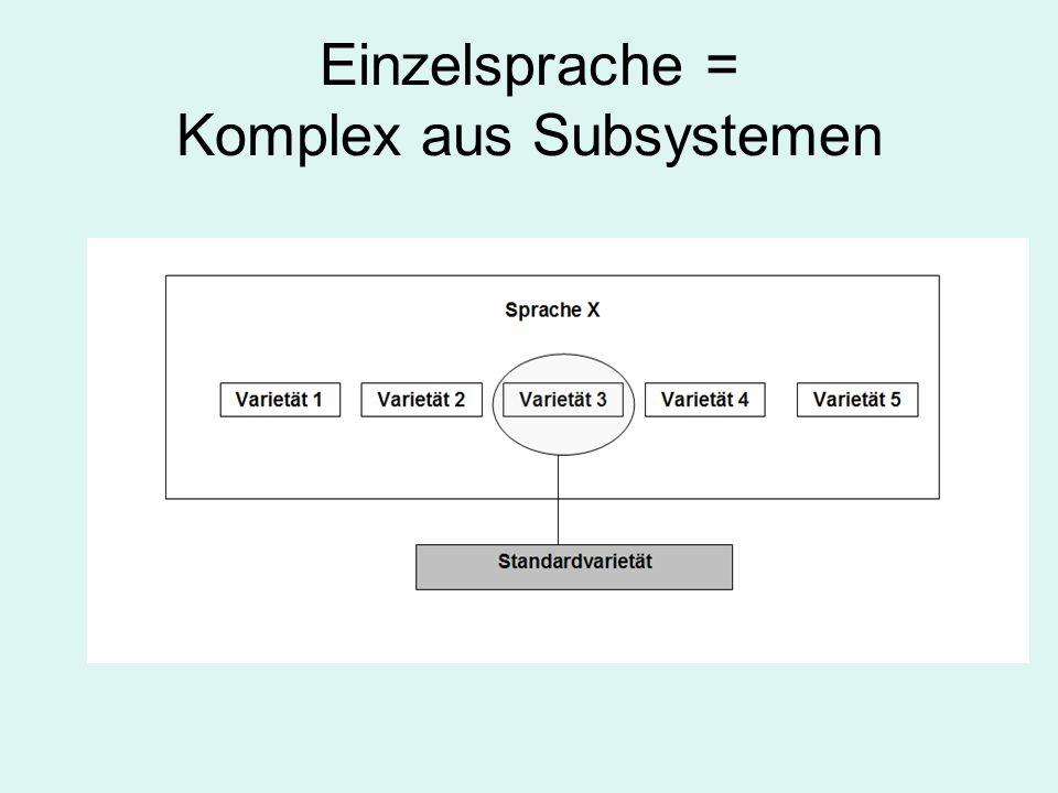 Einzelsprache = Komplex aus Subsystemen