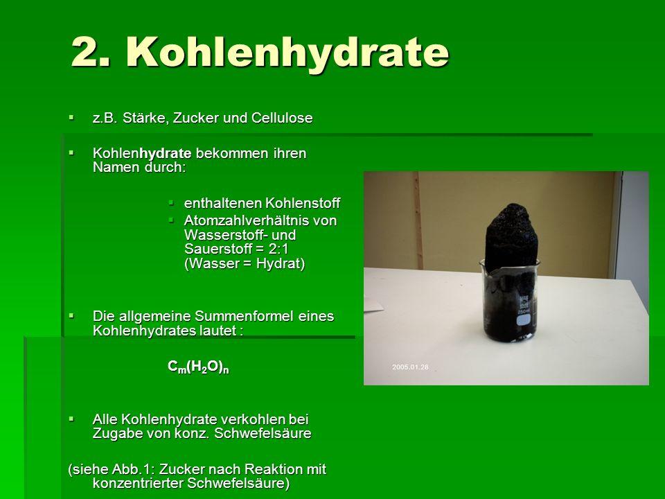 2. Kohlenhydrate z.B. Stärke, Zucker und Cellulose z.B. Stärke, Zucker und Cellulose Kohlenhydrate bekommen ihren Namen durch: Kohlenhydrate bekommen