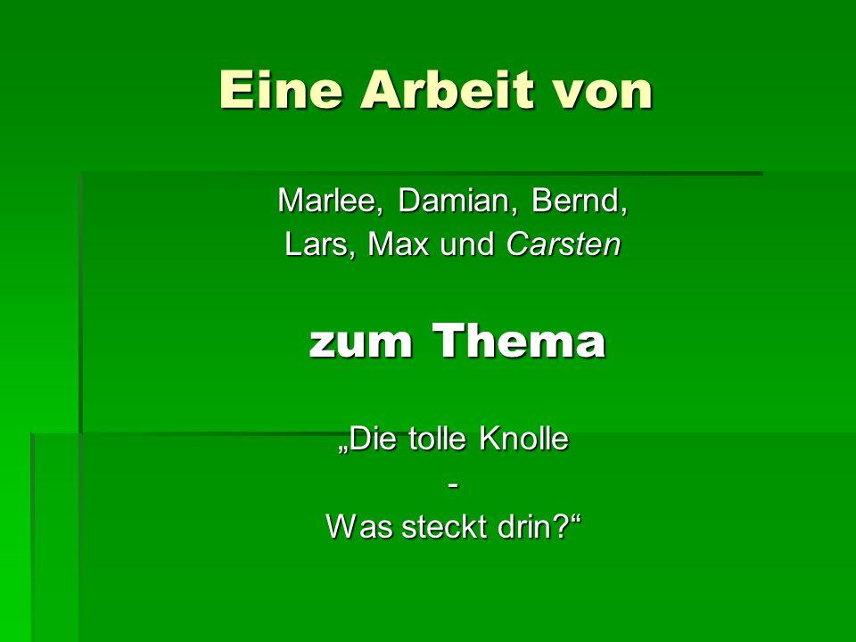 Eine Arbeit von Marlee, Damian, Bernd, Lars, Max und Carsten zum Thema zum Thema Die tolle Knolle - Was steckt drin?