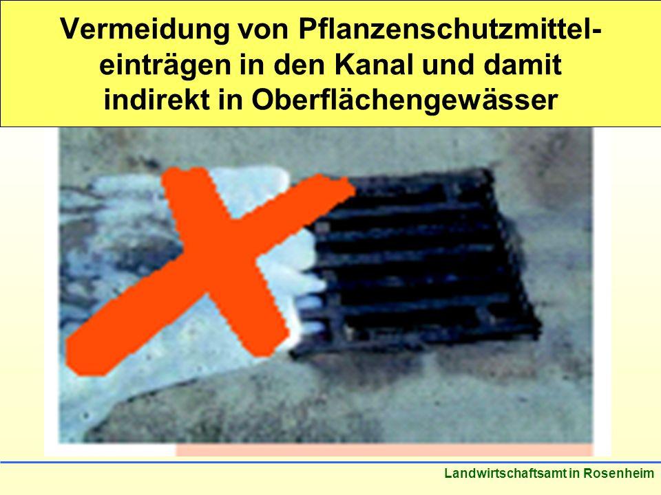 Stand: März 2005 Landwirtschaftsamt in Rosenheim Vermeidung von Pflanzenschutzmittel- einträgen in den Kanal und damit indirekt in Oberflächengewässer