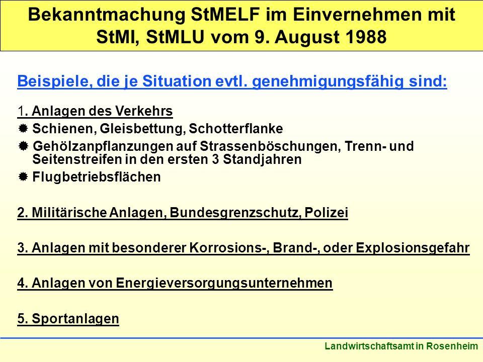 Stand: März 2005 Landwirtschaftsamt in Rosenheim Bekanntmachung StMELF im Einvernehmen mit StMI, StMLU vom 9. August 1988 Beispiele, die je Situation