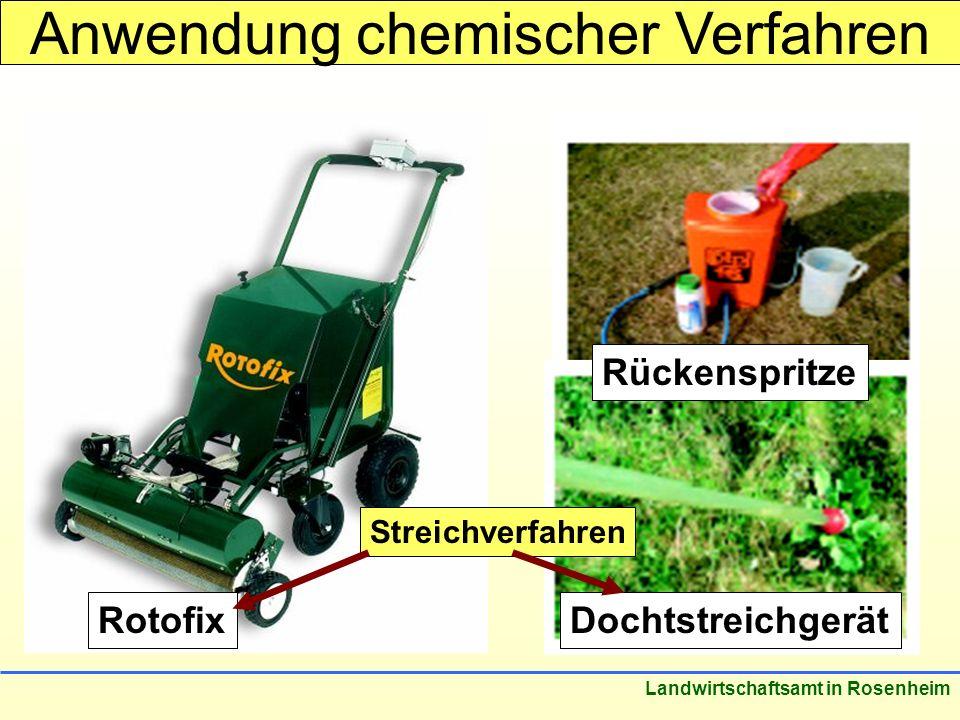 Stand: März 2005 Landwirtschaftsamt in Rosenheim Anwendung chemischer Verfahren Rotofix Rückenspritze Dochtstreichgerät Streichverfahren