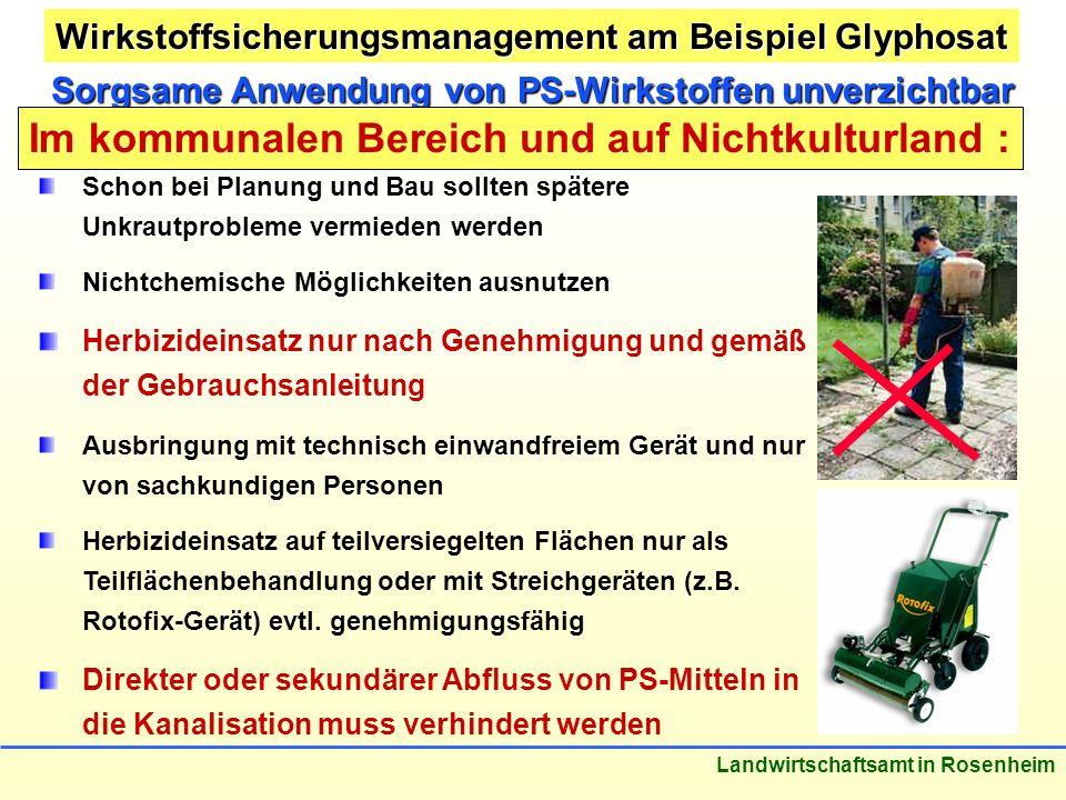 Stand: März 2005 Landwirtschaftsamt in Rosenheim Sorgsame Anwendung von PS-Wirkstoffen unverzichtbar Im kommunalen Bereich und auf Nichtkulturland : S