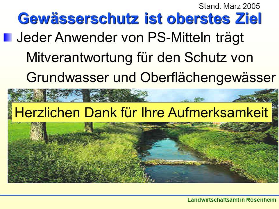 Stand: März 2005 Landwirtschaftsamt in Rosenheim Gewässerschutz ist oberstes Ziel Jeder Anwender von PS-Mitteln trägt Mitverantwortung für den Schutz von Grundwasser und Oberflächengewässer Herzlichen Dank für Ihre Aufmerksamkeit