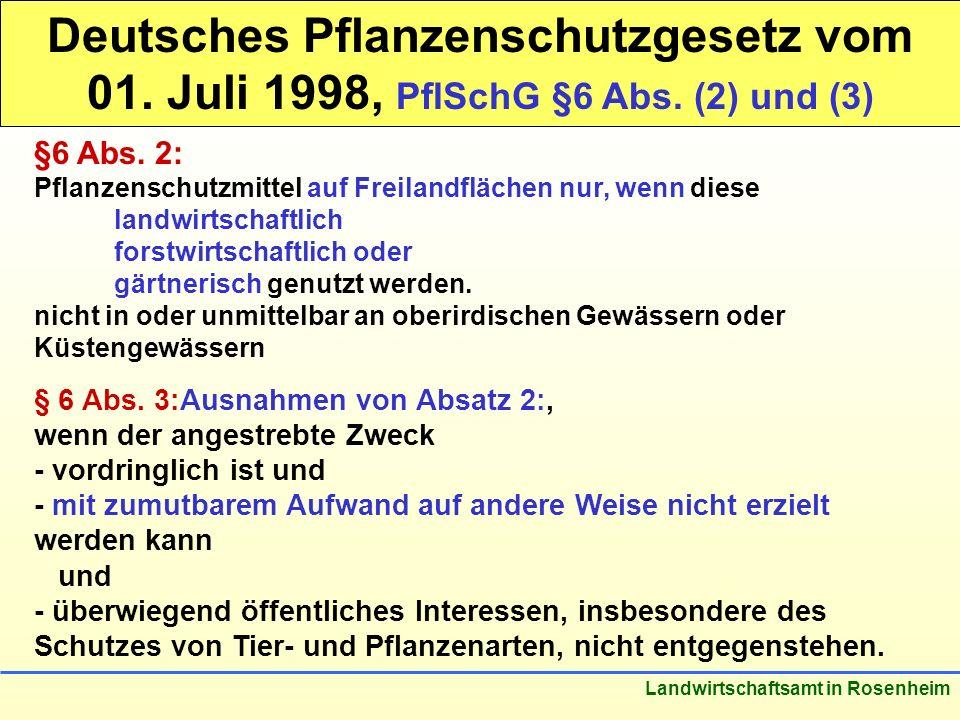 Stand: März 2005 Landwirtschaftsamt in Rosenheim Deutsches Pflanzenschutzgesetz vom 01. Juli 1998, PflSchG §6 Abs. (2) und (3) §6 Abs. 2: Pflanzenschu