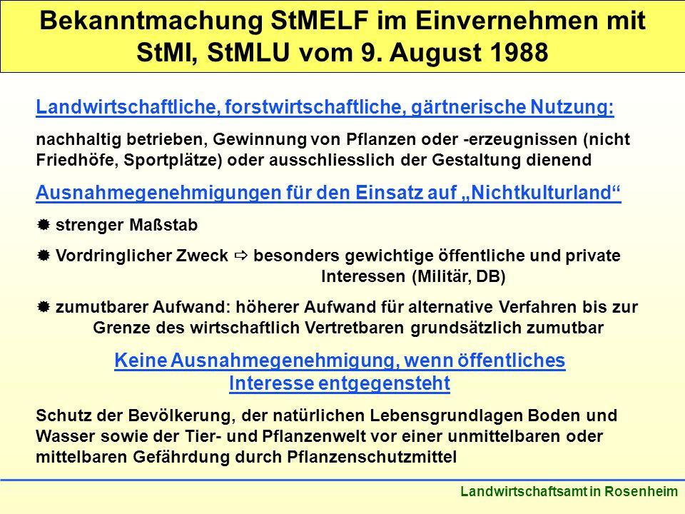 Stand: März 2005 Landwirtschaftsamt in Rosenheim Bekanntmachung StMELF im Einvernehmen mit StMI, StMLU vom 9. August 1988 Landwirtschaftliche, forstwi