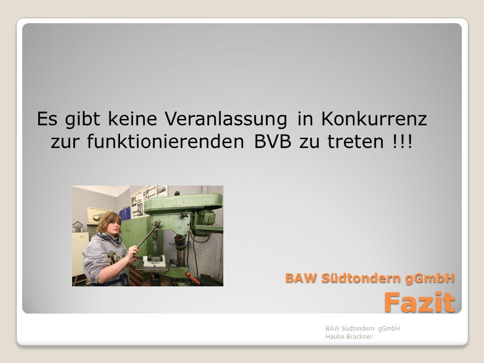 BAW Südtondern gGmbH Fazit Es gibt keine Veranlassung in Konkurrenz zur funktionierenden BVB zu treten !!! BAW Südtondern gGmbH Hauke Brückner