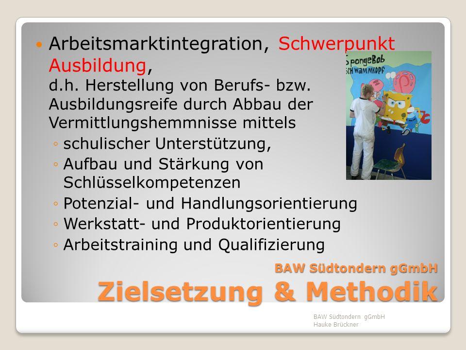 BAW Südtondern gGmbH Zielsetzung & Methodik Arbeitsmarktintegration, Schwerpunkt Ausbildung, d.h. Herstellung von Berufs- bzw. Ausbildungsreife durch