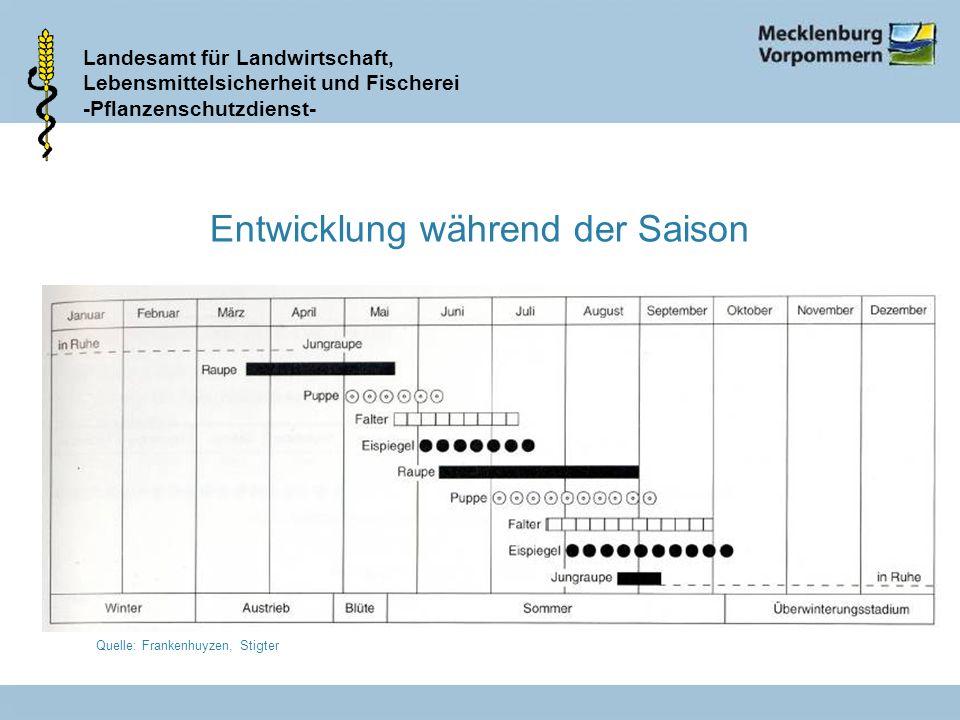 Landesamt für Landwirtschaft, Lebensmittelsicherheit und Fischerei -Pflanzenschutzdienst- Entwicklung während der Saison Quelle: Frankenhuyzen, Stigte