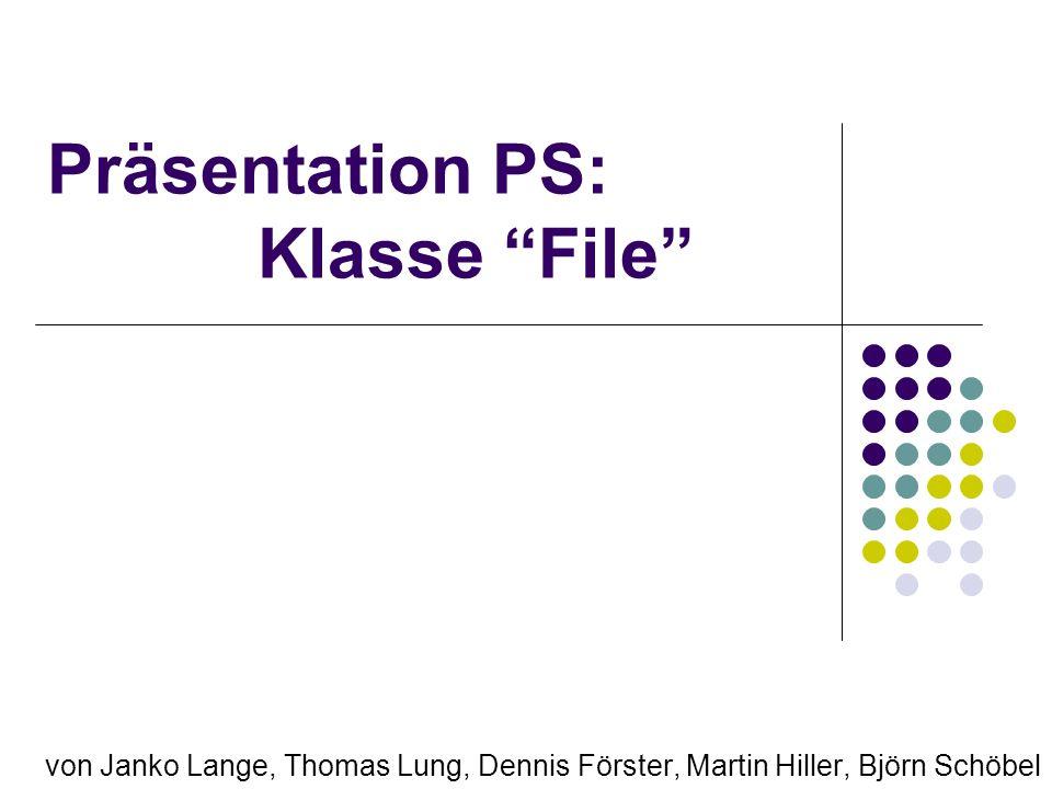Inhaltsverzeichnis Die Klasse File Datei erstellen Datei umbennen Datei löschen Datei-Pfad anzeigen