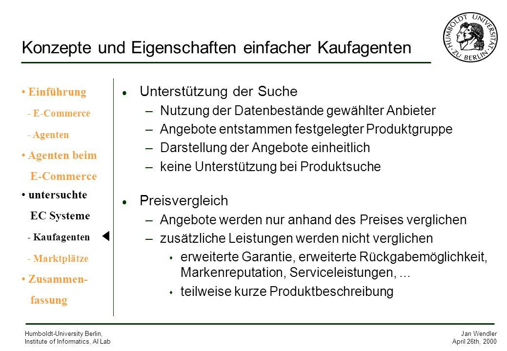 Jan Wendler April 26th, 2000 Humboldt-University Berlin, Institute of Informatics, AI Lab Konzepte und Eigenschaften einfacher Kaufagenten Unterstützu