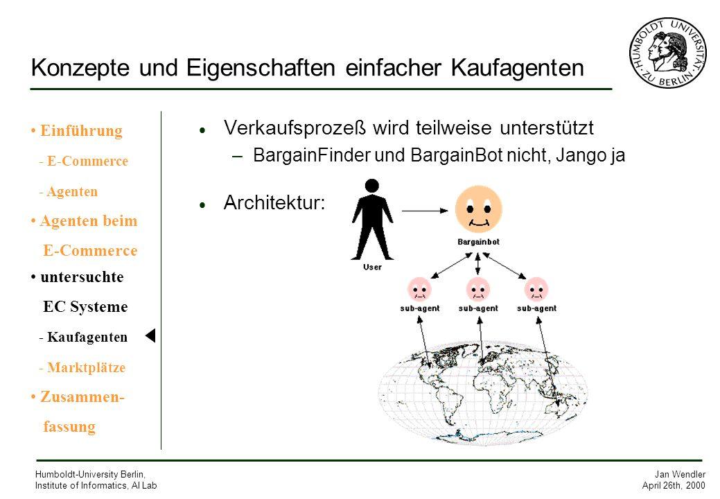 Jan Wendler April 26th, 2000 Humboldt-University Berlin, Institute of Informatics, AI Lab Konzepte und Eigenschaften einfacher Kaufagenten Verkaufspro