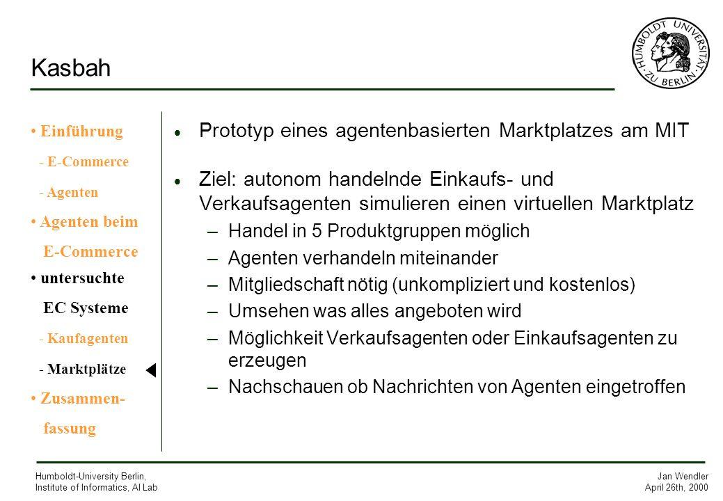 Jan Wendler April 26th, 2000 Humboldt-University Berlin, Institute of Informatics, AI Lab Kasbah Prototyp eines agentenbasierten Marktplatzes am MIT Z