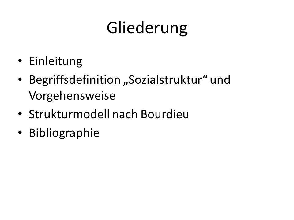 Gliederung Einleitung Begriffsdefinition Sozialstruktur und Vorgehensweise Strukturmodell nach Bourdieu Bibliographie