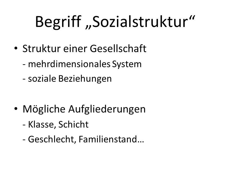 Begriff Sozialstruktur Struktur einer Gesellschaft - mehrdimensionales System - soziale Beziehungen Mögliche Aufgliederungen - Klasse, Schicht - Gesch