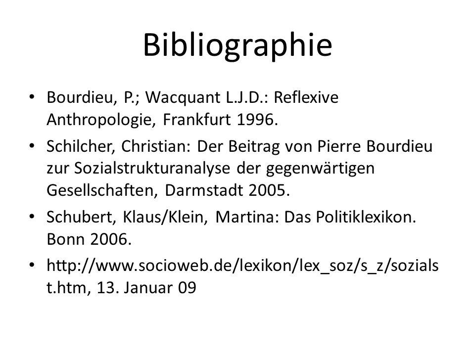 Bibliographie Bourdieu, P.; Wacquant L.J.D.: Reflexive Anthropologie, Frankfurt 1996. Schilcher, Christian: Der Beitrag von Pierre Bourdieu zur Sozial