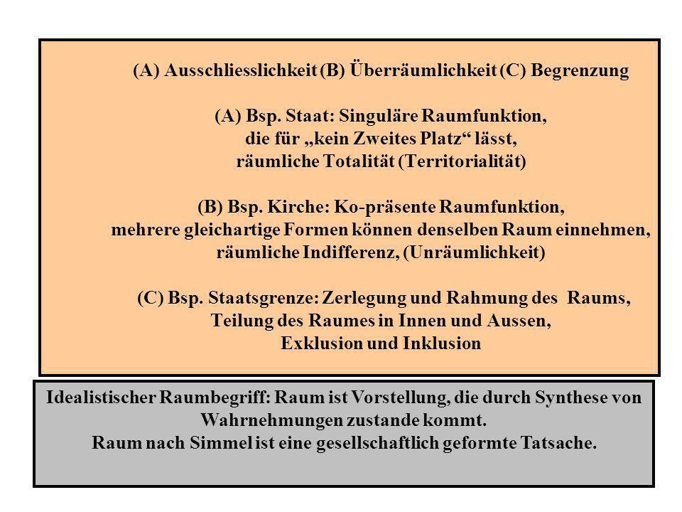 (A) Ausschliesslichkeit (B) Überräumlichkeit (C) Begrenzung (A) Bsp. Staat: Singuläre Raumfunktion, die für kein Zweites Platz lässt, räumliche Totali