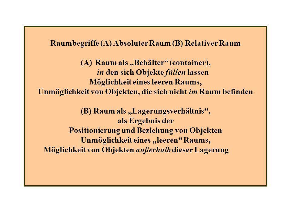 Raumbegriffe (A) Absoluter Raum (B) Relativer Raum (A)Raum als Behälter (container), in den sich Objekte füllen lassen Möglichkeit eines leeren Raums,