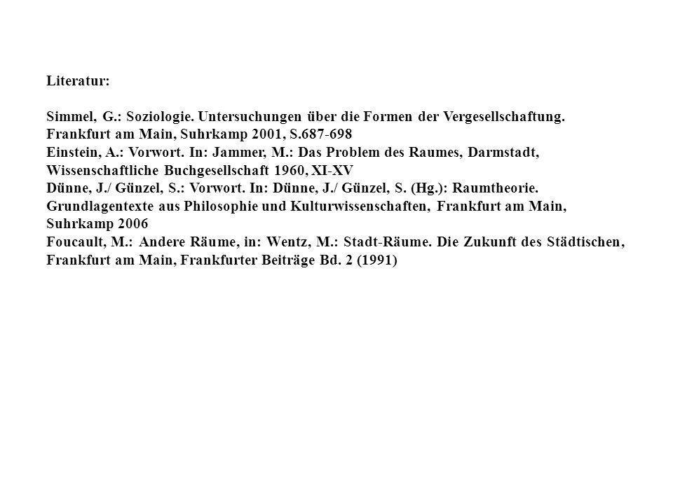 Literatur: Simmel, G.: Soziologie. Untersuchungen über die Formen der Vergesellschaftung. Frankfurt am Main, Suhrkamp 2001, S.687-698 Einstein, A.: Vo