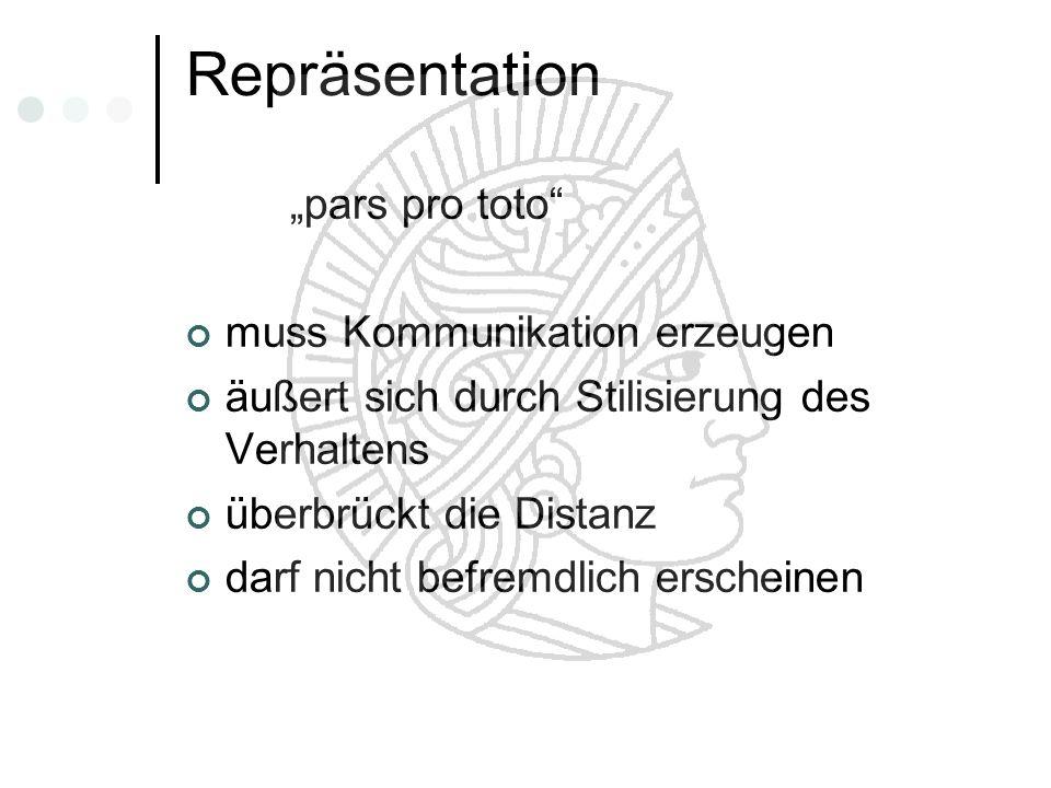 Repräsentation pars pro toto muss Kommunikation erzeugen äußert sich durch Stilisierung des Verhaltens überbrückt die Distanz darf nicht befremdlich e