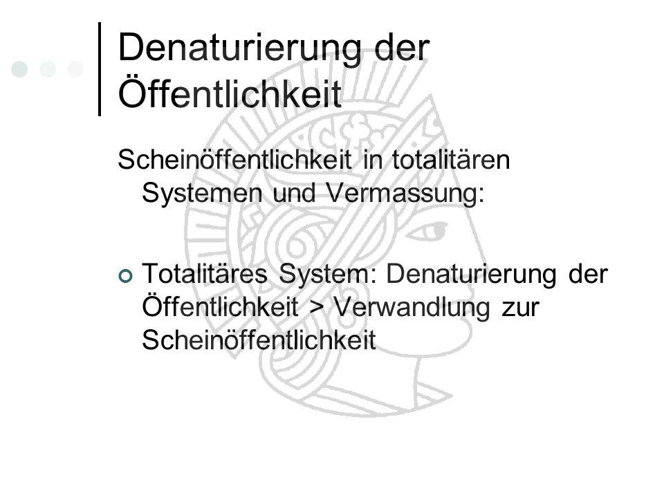 Denaturierung der Öffentlichkeit Scheinöffentlichkeit in totalitären Systemen und Vermassung: Totalitäres System: Denaturierung der Öffentlichkeit > V