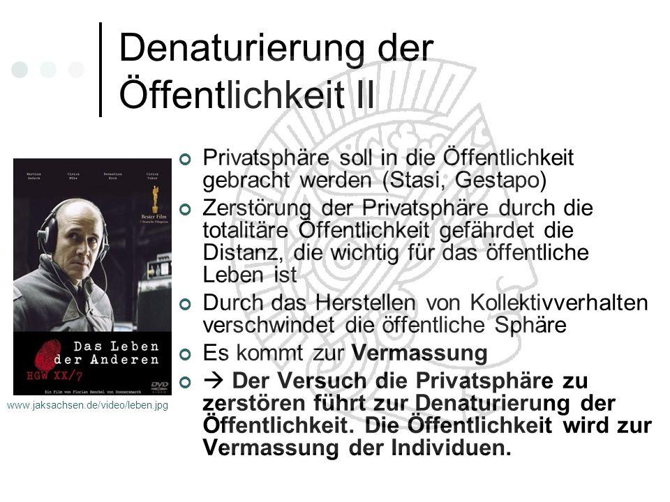 Denaturierung der Öffentlichkeit II Privatsphäre soll in die Öffentlichkeit gebracht werden (Stasi, Gestapo) Zerstörung der Privatsphäre durch die tot