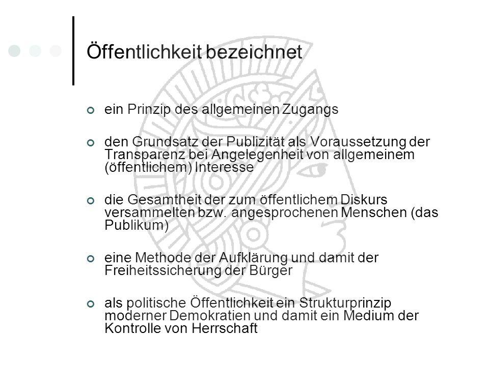Öffentlichkeit bezeichnet ein Prinzip des allgemeinen Zugangs den Grundsatz der Publizität als Voraussetzung der Transparenz bei Angelegenheit von all