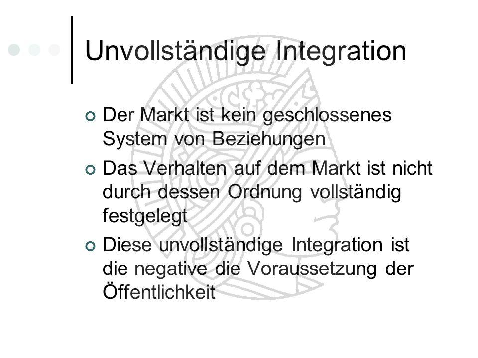 Unvollständige Integration Der Markt ist kein geschlossenes System von Beziehungen Das Verhalten auf dem Markt ist nicht durch dessen Ordnung vollstän