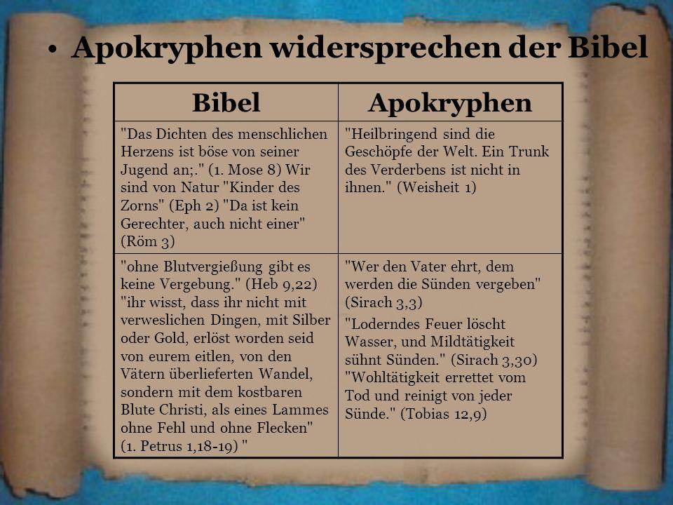 Apokryphen widersprechen der Bibel BibelApokryphen