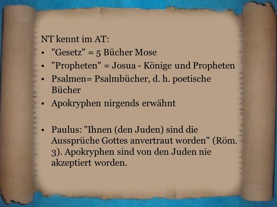 NT kennt im AT: