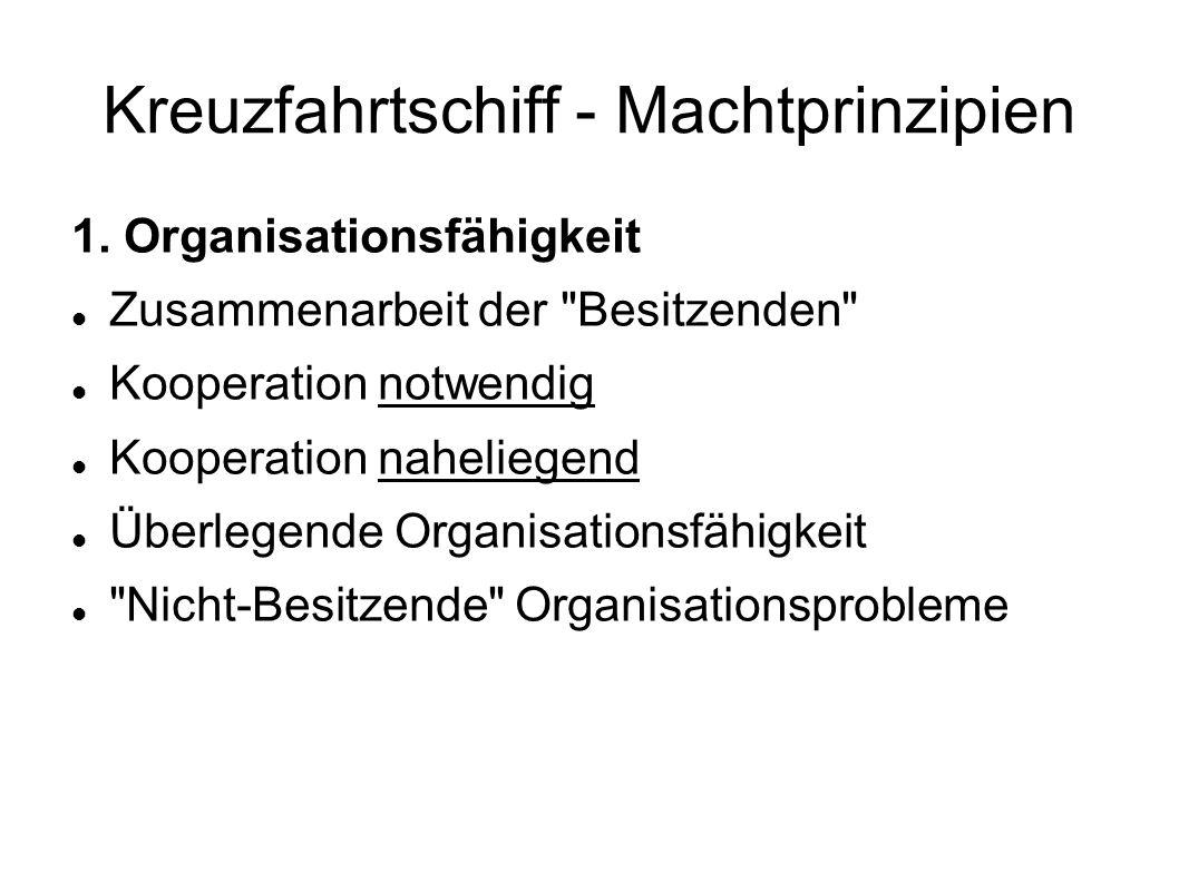 Kreuzfahrtschiff - Machtprinzipien 1. Organisationsfähigkeit Zusammenarbeit der