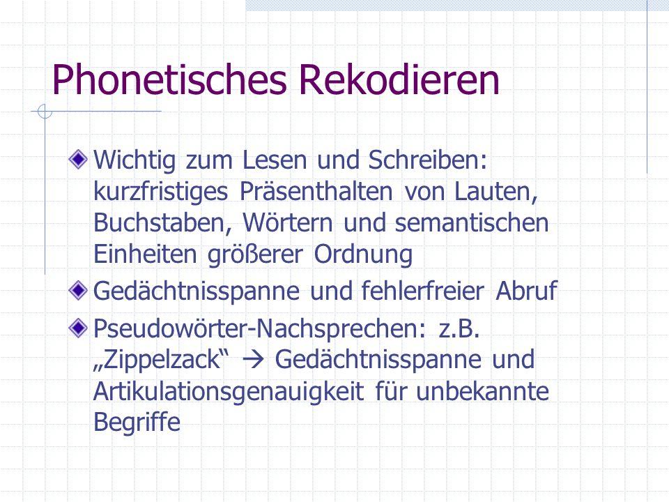 Phonetisches Rekodieren Wichtig zum Lesen und Schreiben: kurzfristiges Präsenthalten von Lauten, Buchstaben, Wörtern und semantischen Einheiten größer