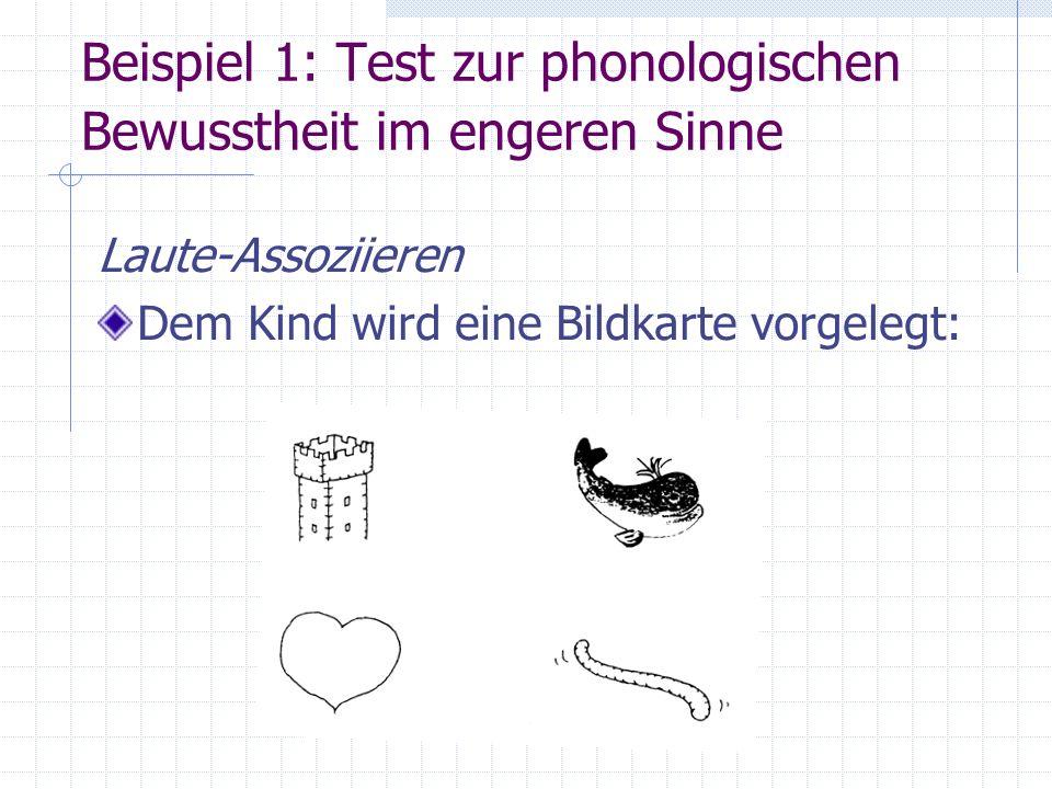 Beispiel 1: Test zur phonologischen Bewusstheit im engeren Sinne Laute-Assoziieren Dem Kind wird eine Bildkarte vorgelegt:
