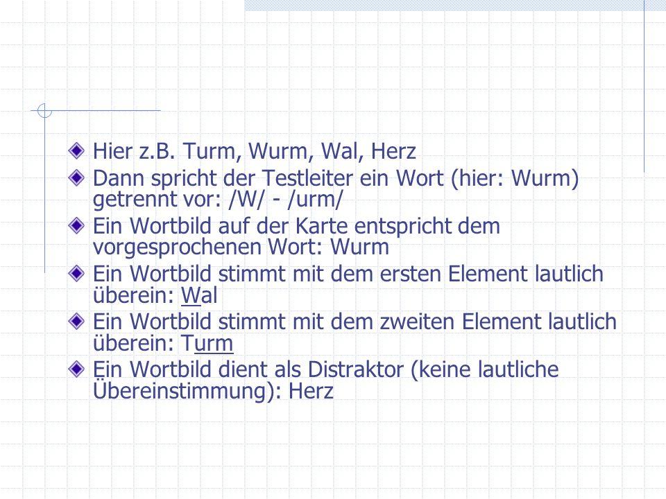 Hier z.B. Turm, Wurm, Wal, Herz Dann spricht der Testleiter ein Wort (hier: Wurm) getrennt vor: /W/ - /urm/ Ein Wortbild auf der Karte entspricht dem