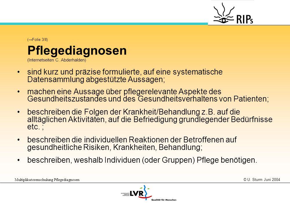 © U. Sturm Juni 2004 Multiplikatorenschulung Pflegediagnosen (Folie 3/II) Pflegediagnosen (Internetseiten C. Abderhalden) sind kurz und präzise formul