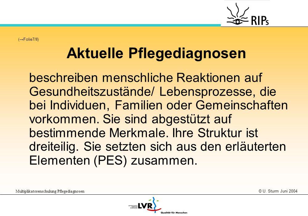 © U. Sturm Juni 2004 Multiplikatorenschulung Pflegediagnosen (Folie7/II) Aktuelle Pflegediagnosen beschreiben menschliche Reaktionen auf Gesundheitszu