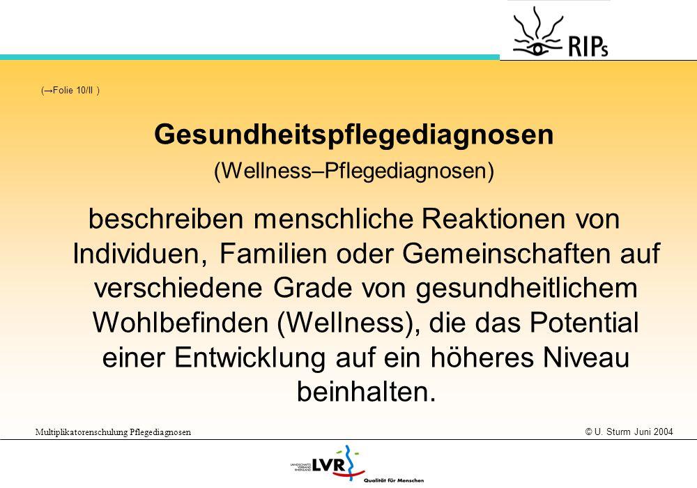 © U. Sturm Juni 2004 Multiplikatorenschulung Pflegediagnosen (Folie 10/II ) Gesundheitspflegediagnosen (Wellness–Pflegediagnosen) beschreiben menschli