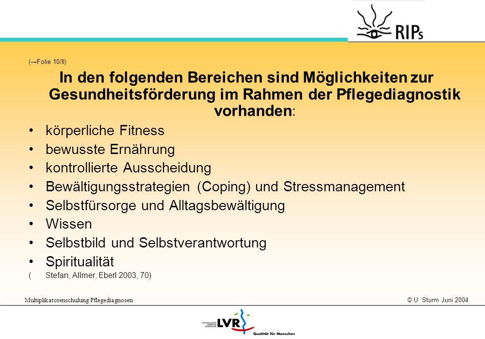 © U. Sturm Juni 2004 Multiplikatorenschulung Pflegediagnosen (Folie 10/II) In den folgenden Bereichen sind Möglichkeiten zur Gesundheitsförderung im R
