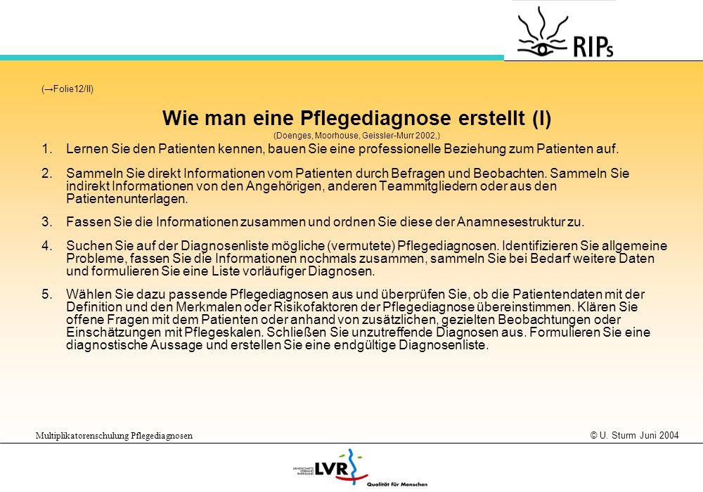 © U. Sturm Juni 2004 Multiplikatorenschulung Pflegediagnosen (Folie12/II) Wie man eine Pflegediagnose erstellt (I) (Doenges, Moorhouse, Geissler-Murr