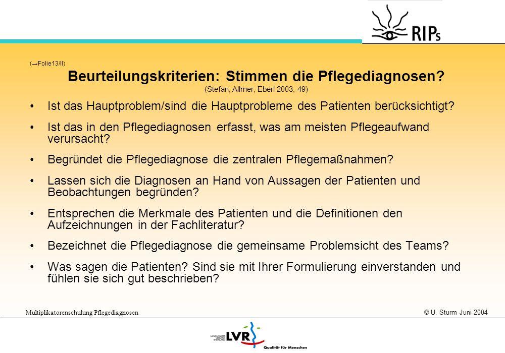 © U. Sturm Juni 2004 Multiplikatorenschulung Pflegediagnosen (Folie13/II) Beurteilungskriterien: Stimmen die Pflegediagnosen? (Stefan, Allmer, Eberl 2