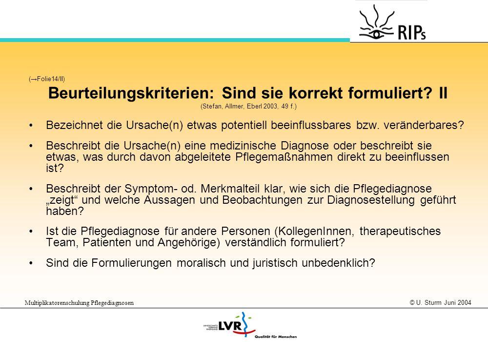 © U. Sturm Juni 2004 Multiplikatorenschulung Pflegediagnosen (Folie14/II) Beurteilungskriterien: Sind sie korrekt formuliert? II (Stefan, Allmer, Eber
