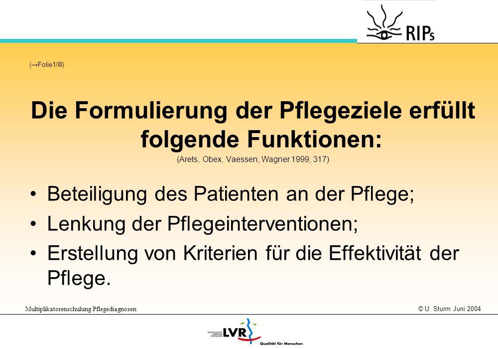 © U. Sturm Juni 2004 Multiplikatorenschulung Pflegediagnosen (Folie1/III) Die Formulierung der Pflegeziele erfüllt folgende Funktionen: (Arets, Obex,