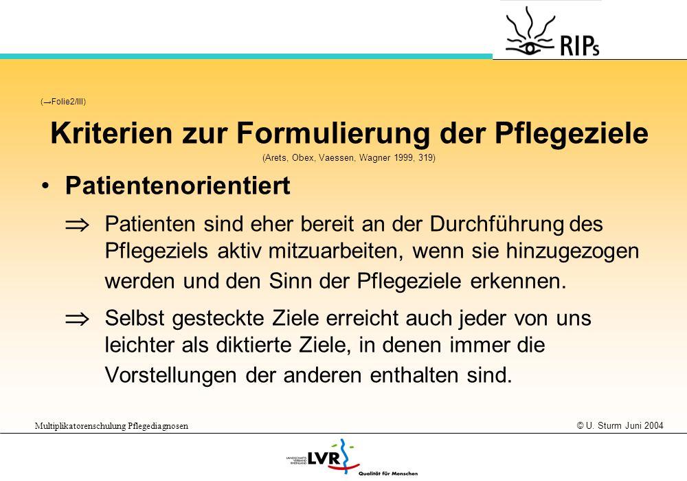 © U. Sturm Juni 2004 Multiplikatorenschulung Pflegediagnosen (Folie2/III) Kriterien zur Formulierung der Pflegeziele (Arets, Obex, Vaessen, Wagner 199