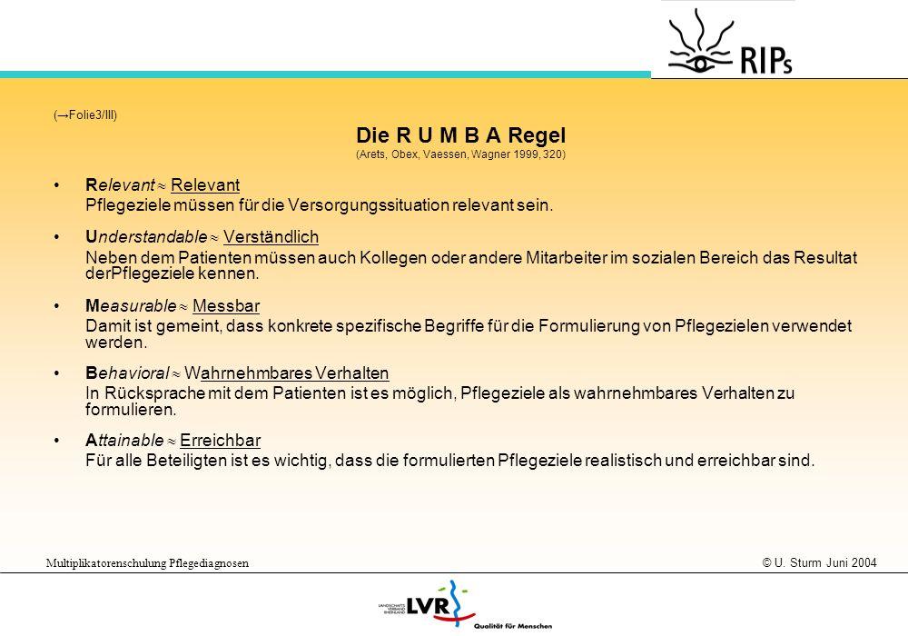 © U. Sturm Juni 2004 Multiplikatorenschulung Pflegediagnosen (Folie3/III) Die R U M B A Regel (Arets, Obex, Vaessen, Wagner 1999, 320) Relevant Pflege