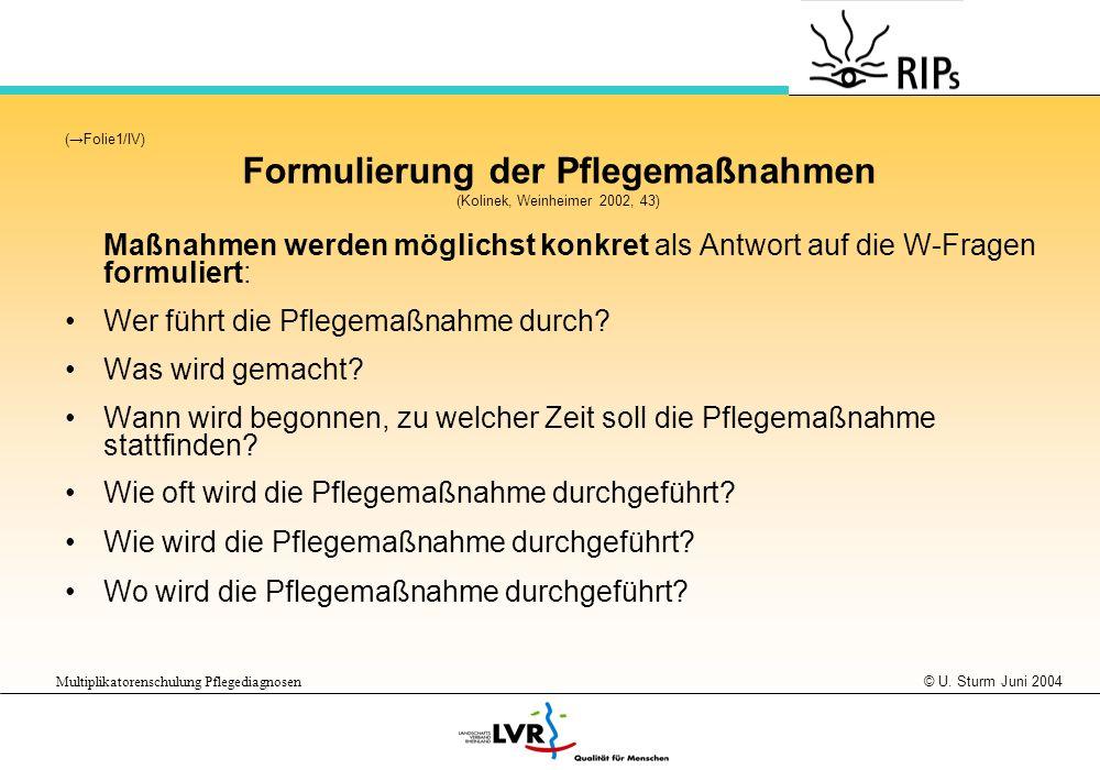 © U. Sturm Juni 2004 Multiplikatorenschulung Pflegediagnosen (Folie1/IV) Formulierung der Pflegemaßnahmen (Kolinek, Weinheimer 2002, 43) Maßnahmen wer