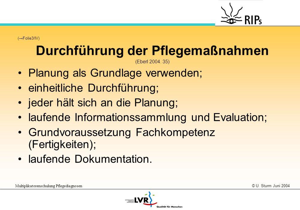 © U. Sturm Juni 2004 Multiplikatorenschulung Pflegediagnosen (Folie3/IV) Durchführung der Pflegemaßnahmen (Eberl 2004. 35) Planung als Grundlage verwe