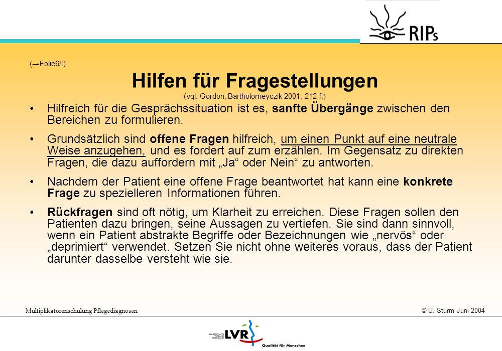 © U. Sturm Juni 2004 Multiplikatorenschulung Pflegediagnosen (Folie6/I) Hilfen für Fragestellungen (vgl. Gordon, Bartholomeyczik 2001, 212 f.) Hilfrei